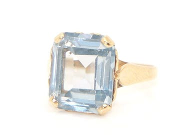 Lovely Vintage 9Ct Yellow Gold 6Ct Blue Topaz Dress Ring, Size L