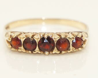 Stunning Vintage 9ct Yellow Gold 5 Stone Garnet Boat Style Ring, Size S