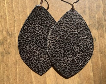 Deep Brown Leather earrings