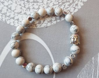 Buddha and grey glass beads bracelet