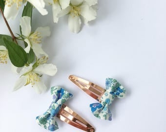 Hair clips, Floral fabric hair clips, snap clips, rose gold clips, Hair accessories,