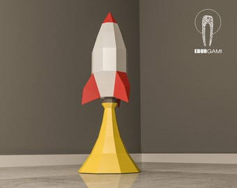 Rocket  Papercraft 3D, Paper Craft Rocket Launch, Rocket Ship, Low Poly Rocket, Spaceship, Desk Decor, DIY Mask, Printable, PDF Template