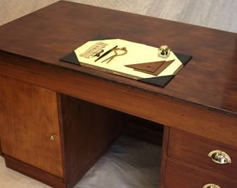 Solid timber pedestal desk with card index drawers (free local delivery)