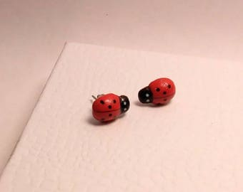 Little Ladybug, red, stud post earrings