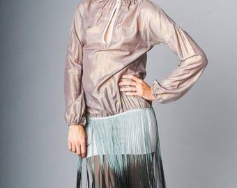 F-029C Silk Dress-Pearl/Metallic