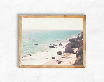Malibu Print Instant Digital Download aqua blue el matador Beach Photography California travel Print Wall Art DIY dorm apartment printable