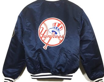 Vintage Rare!! Diamond Collection By Starter NY Yankees Big Logo Embroidery Patches Satin Jacket/Varsity Jacket/Bomber Jacket Made in USA Si