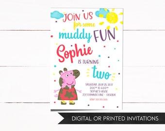Peppa Pig Invitation, Peppa Invitation, Peppa Birthday Invitations