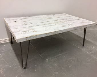 White Shabby Chic Industrial Reclaimed Timber Scaffold Board Coffee Table On Hairpin Legs