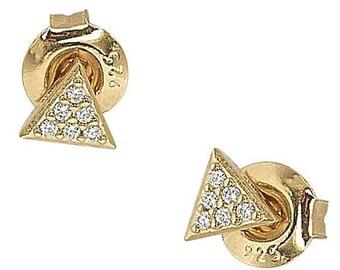 Gold CZ Stud Triangles Earrings
