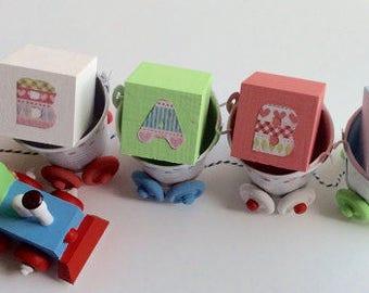 Wooden Baby Train, Nursery Ornament, Little Man Nursery Decor, Baby Boy  Nursery,