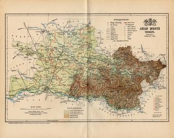 Antique dated map of Arad county from 1893