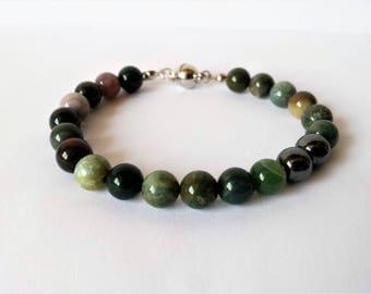 Indian agate and hematite bead bracelet for men