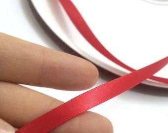 red ribbon, satin edge ribbon, ribbon in bulk, loose ribbon, ribbon by the yard, wholesale, 1/4 inch