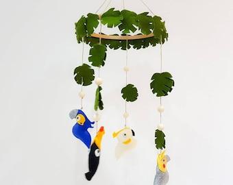 Tropical birds theme baby mobile