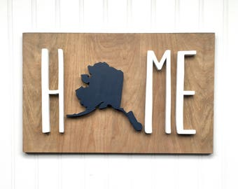 "Home State Wood Sign, 16""x10"" sign, Wood State Cutout, Home Sign, Home, Wood Cutout, Hand Cut Wood Sign"