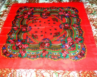 Vintage Large Red Ukrainian Shawl Chale russe Ukraine style shawl Shawl with tassels Russian flower scarf Slavic floral design Gift USSR