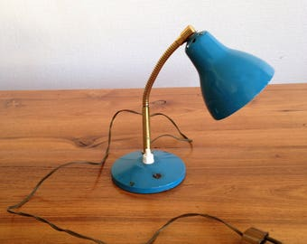 Small industrial lamp - blue and gold - vintage