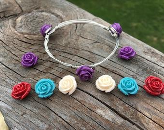 Rose bangle stack bracelet