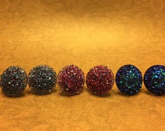 Sparkly Round Stud Earrings Set of 3