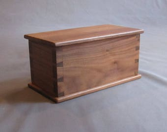 Handcrafted Wood Box. Solid Wood Walnut Box with Hand Cut Dovetail Corners for your Treasures Keepsakes Jewels Storage Gift Display