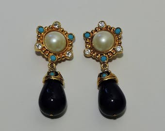 JOSE BARRERA for AVON Roman Holiday Clip Earrings Faux Mabe Pearl, Turquoise Beads and Rhinestones Gold Tone Finish