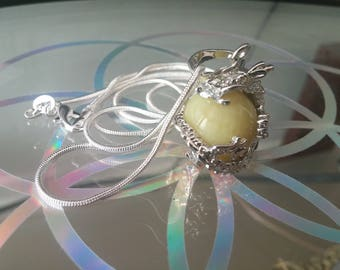 Yellow Jade crystal necklace with 925 silver chain