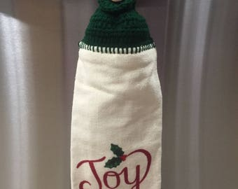 Christmas kitchen hand towel with script Joy