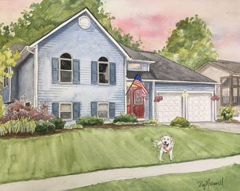 Custom House Painting with Dog and/or people-House Portrait-House with Family Painting