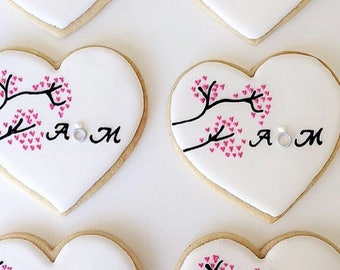 Cherry Blossom Monogram Wedding Engagement Cookies - Sugar Cookies - Royal Icing