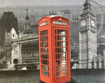 Decoupage Napkins x4, Paper Napkins for Decoupage Scrapbooking Collage Papercraft Craft Vintage London Red Phone Booth 289