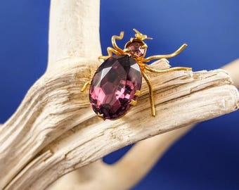 Vintage Beetle Brooch - Faux Amethyst And Gold Tone Metal, Vintage Beetle Pin, Insect Brooch, Vintage Costume Jewellery