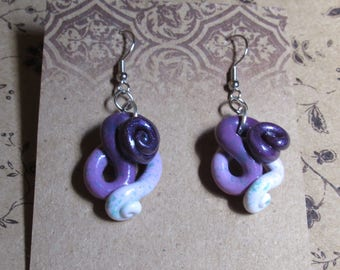 Violet White Ombre Tentacle Swirl Earrings