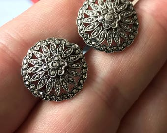 1930s Art Deco sterling silver marcasite round clip on  earrings vintage