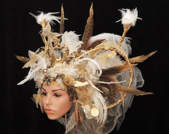 Majestic headdress with feathers and crown-headpiece-headdress-fairytale