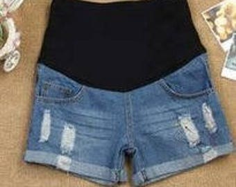 Maternity Blue Jean Shorts