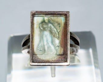 Art Deco Silver Chalcedony Cameo Ring