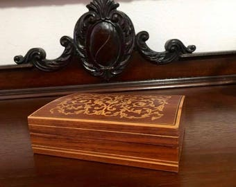 Vintage Handcrafted inlaid Wooden Box with Hinged Lid - European