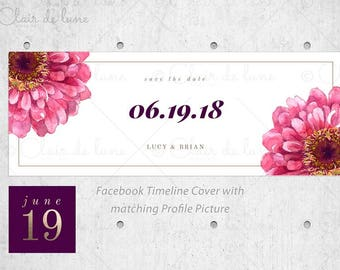 Watercolor Zinnia flowers: Pre-made Facebook Set, Facebook cover and Profile picture featuring faux gold foil, Facebook Header