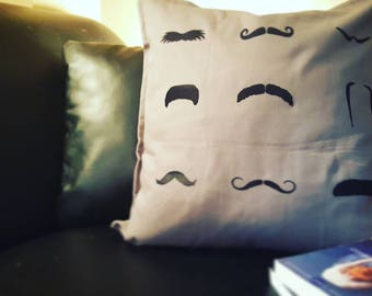 Fuzzy Mustache Pillow Cover