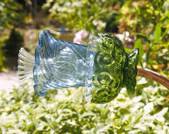 Glass plate flower garden art / Yard art from vintage glassware, light blue, kelly green and clear