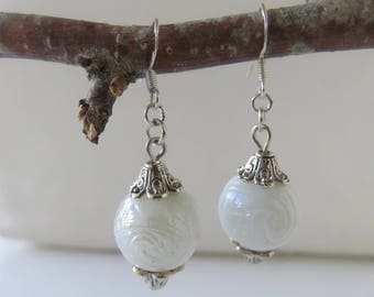 "Earrings ""Bianka"" handcrafted glass White Pearl on sterling silver 925/1000"