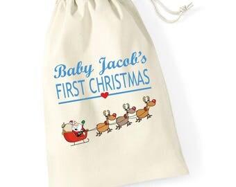 Personalised Sleigh Babys First Christmas Santa Sack Reindeer Xmas Present Stocking Drawstring Keepsake Tumblr Pintrest