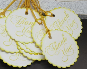 Thank you tags, 12 thank you tags, cardstock tags, tags, ready to ship tags, white and yellow tags, hand punched and stamped tags