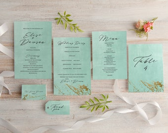 Printable Gold Marble Calligraphy Wedding Day of Collection, Program, Menu, Place Cards, Favor Tags, Table Numbers, watercolor