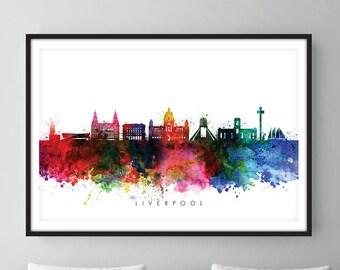 Liverpool Skyline, Merseyside Cityscape Art Print, Wall Art, Watercolor, Watercolour Art Decor