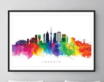 Toronto Skyline, Toronto Canada, Cityscape Art Print, Wall Art, Watercolor, Watercolour Art Decor