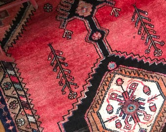 """Eloise // Antique Vintage Persian Rug 4'5""""x3'1"""", small tribal Heriz bohemian area accent rugs"""