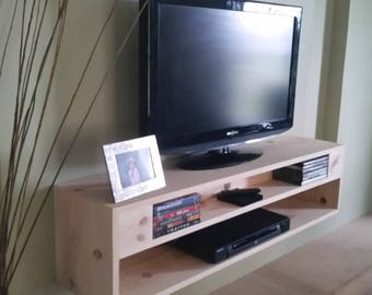 Floating TV Stand And A/V Component Shelf, Wall Console (choice Of Stain