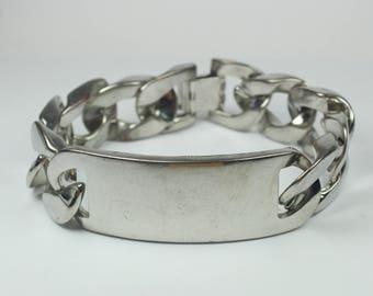 Brutalist Sterling Silver ID Chain Bracelet